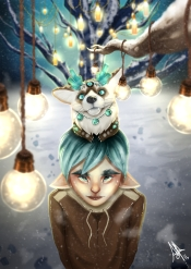 winter magic, a little boy and his magical animal