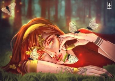 a goddess awakening, gently leaving her chrysalis