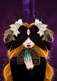 digital painting of a seer who reads tarot cards