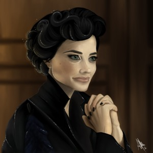 digital painting of Miss Peregrine from movie Miss Peregrine's Home for Peculiar Children directed by Tim Burton
