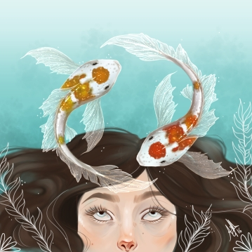 digital painting of a girl underwater contemplating koi fish