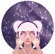 digital painting of a girl listening to music in the stars