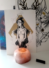 ink drawing woman incense tattoo design