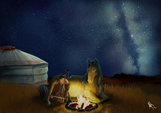 digital painting from book la legende d'altan representing altan and his horse at night