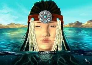 digital painting from book la legende d'altan representing a mongolian princess