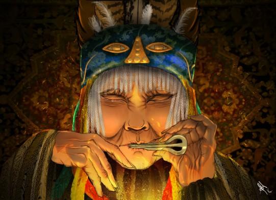 digital painting from book la legende d'altan representing a mongolian shaman