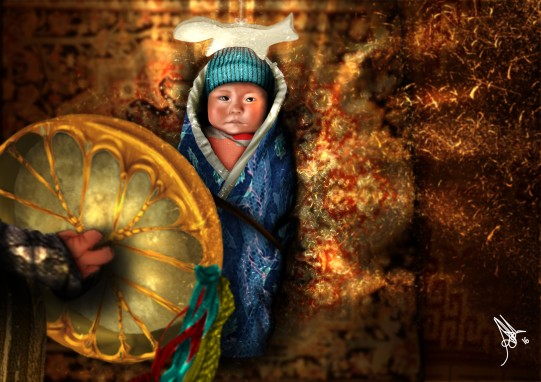 digital painting from book la legende d'altan representing a shamanic incantation on a baby